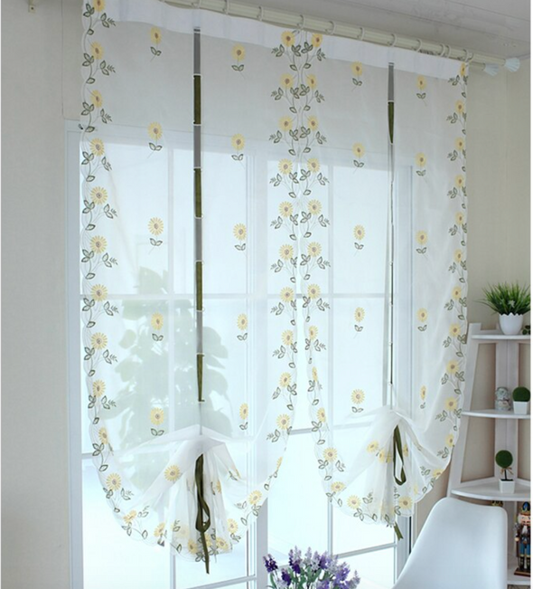 Homespun Embroidered Roman Short Kitchen Curtain - Yellow Flower - Curtains Online - Discover-curtains