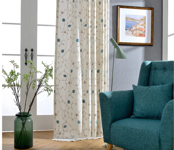 Jason Vine Embroidered Cotton Curtains - Curtains Online - Discover-curtains