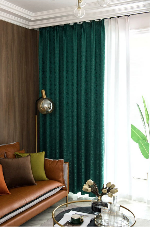 Rémy Luxury Green Blackout Thermal Insulated Curtain - Curtains Online - Discover-curtains