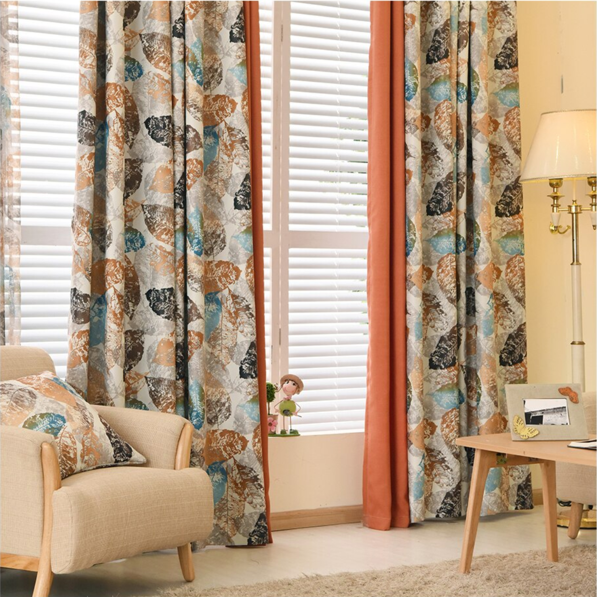 Jason Autumn Leaves Print Blackout Curtain - Curtains Online - Discover-curtains