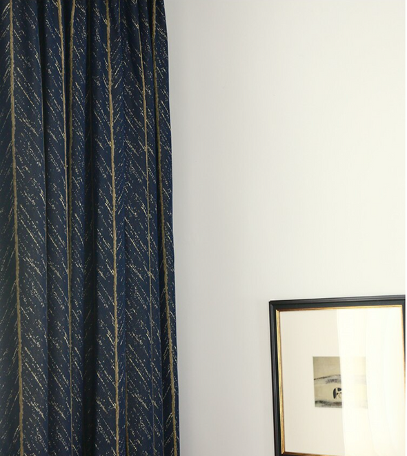 Taylor. H Luxury Gold Fishbone Pattern Jacquard Shade Curtain - Blue - Curtains Online - Discover-curtains
