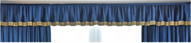 Mila Italian Velvet Bay Window Valance - Blue - Curtains Online - Discover-curtains