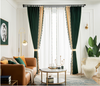 Ethan American Spliced Luxury Velvet Curtains: Green-Beige - Curtains Online - Discover-curtains
