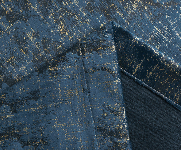 Ethan Modern Luxury Velvet Bronzing Textured Curtains - Blue - Curtains Online - Discover-curtains