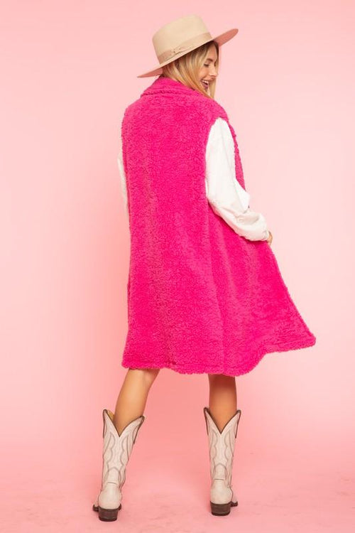 Hot Pink Fuzzy Vest Blue Buttercup