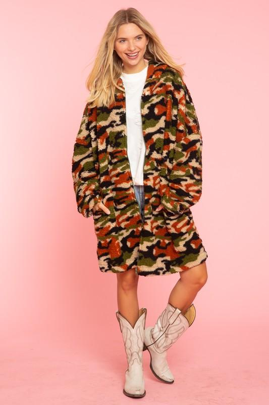 Olive Camouflage Fuzzy Hooded Jacket Blue Buttercup