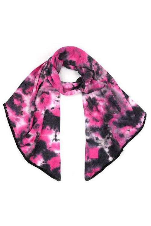 CC Tie Dye Bias Cut Scarf with Rubber Patch CC Black/Hot Pink Scarf