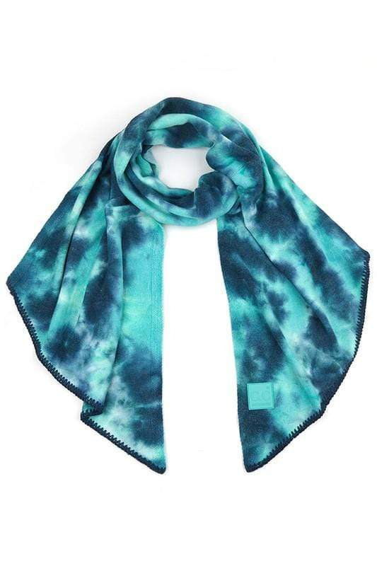 CC Tie Dye Bias Cut Scarf with Rubber Patch CC Deep Teal/Sea Green Scarf