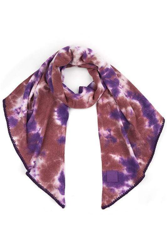 CC Tie Dye Bias Cut Scarf with Rubber Patch CC Iris/Wild Ginger Scarf
