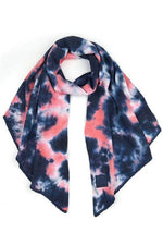 CC Tie Dye Bias Cut Scarf with Rubber Patch CC Navy/Pink Scarf