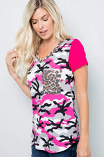 Fuchsia Camouflage Color Block Top Celeste Clothing Tops