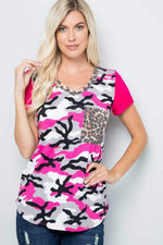Fuchsia Camouflage Color Block Top Celeste Clothing Small Tops