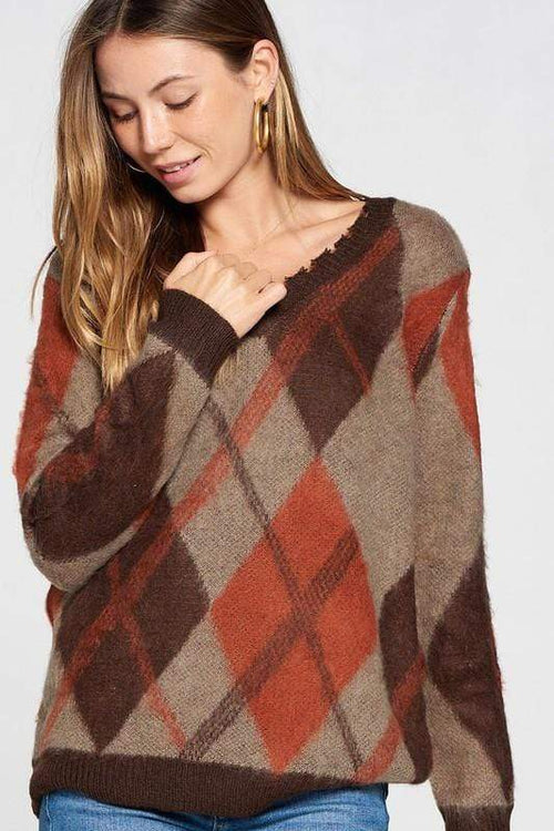 Brown Argyle Print V-Neck Sweater Davi & Dani