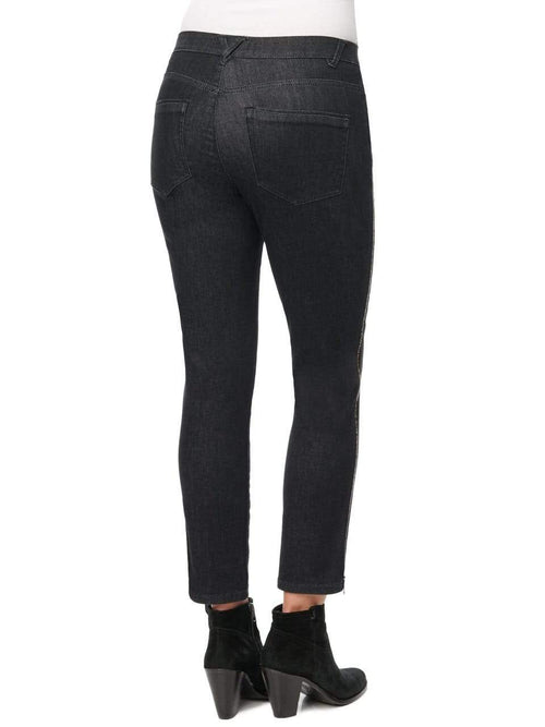 Black High Rise Ab Solution Skinny Jean W/ Zipper Side Seam Detail Democracy Jeans