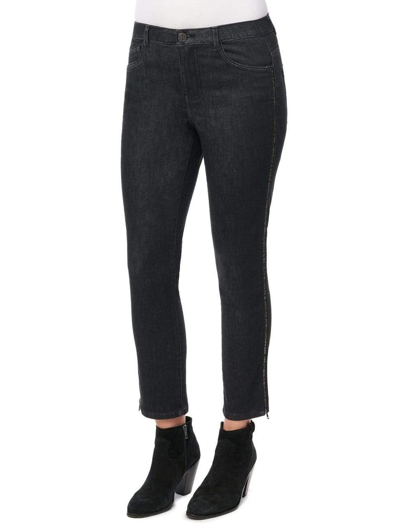 Black High Rise Ab Solution Skinny Jean W/ Zipper Side Seam Detail Democracy 2 Jeans