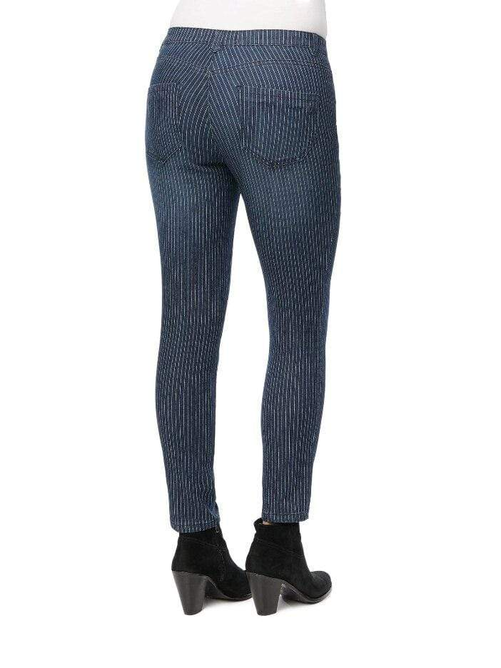 Indigo Stripe Ab-Solution High Rise Ankle Length Jeans Democracy