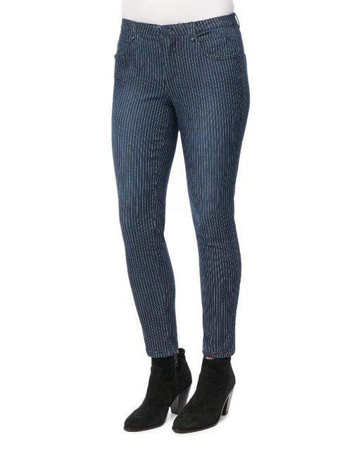 Indigo Stripe Ab-Solution High Rise Ankle Length Jeans Democracy 2