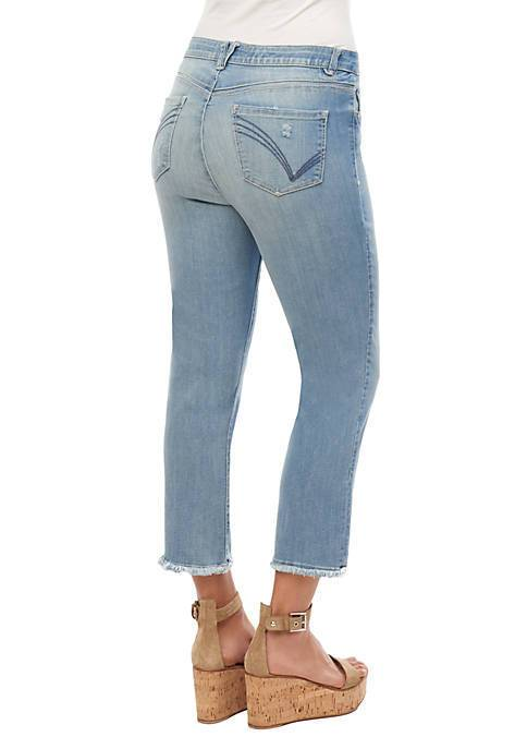 Light Blue High Rise Straight Crop Jeans Democracy