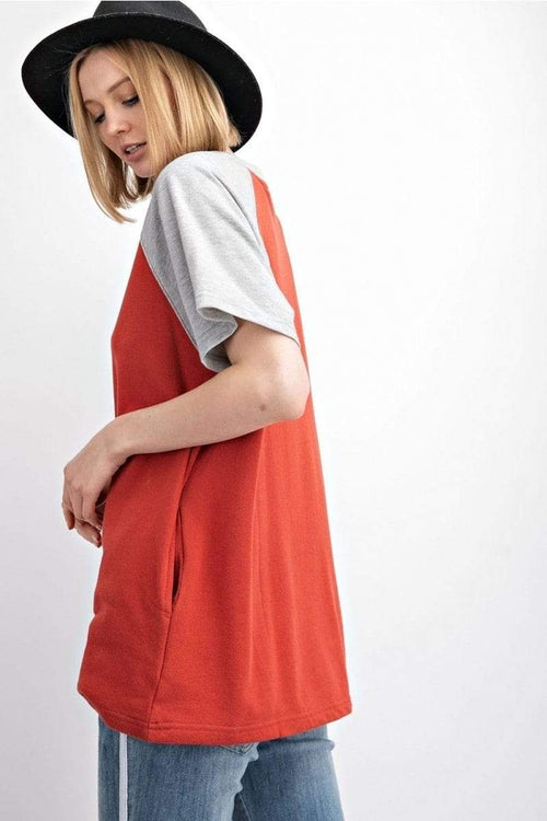 Crimson Color Block Terry Knit Top Easel