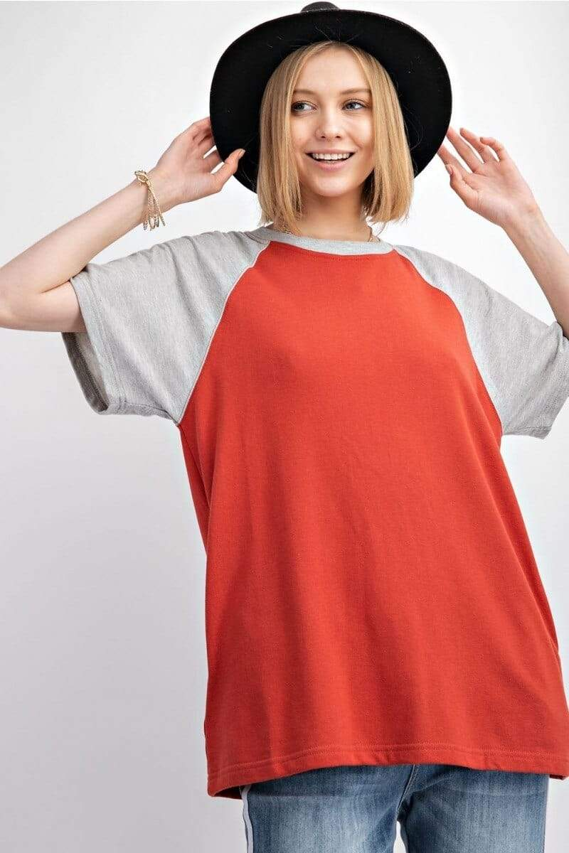 Crimson Color Block Terry Knit Top Easel Small