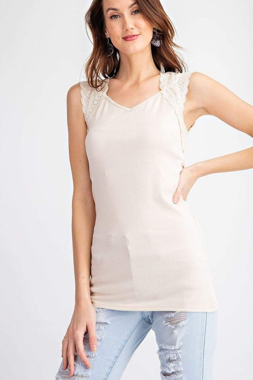 Tan Lace Cap Sleeve Ribbed Top Easel Small