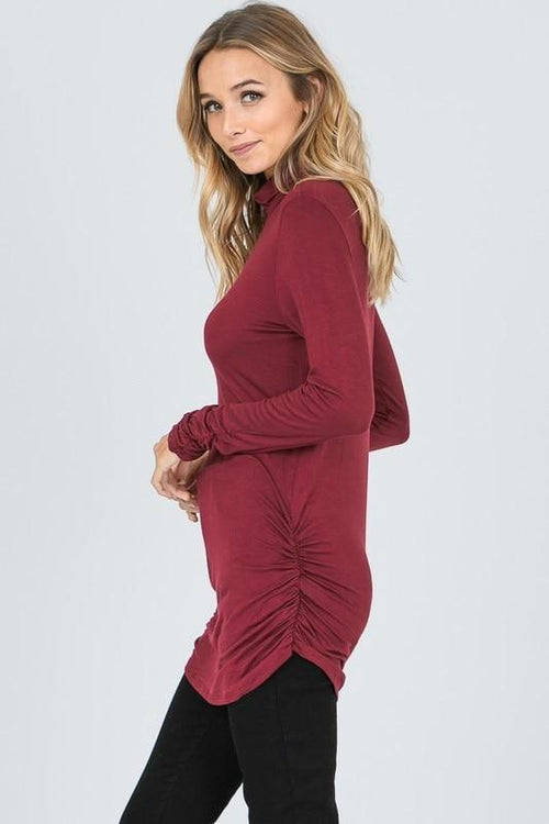 Burgundy Side-Seam Ruched Turtle Neck Top Hailey & Co.