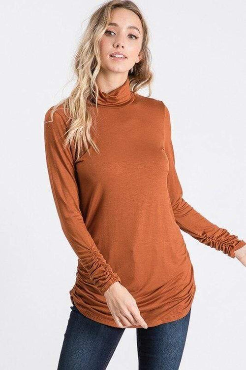 Camel Side-Seam Ruched Turtle Neck Top Hailey & Co.