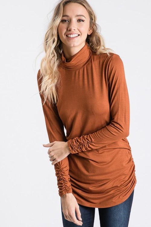 Camel Side-Seam Ruched Turtle Neck Top Hailey & Co. Small
