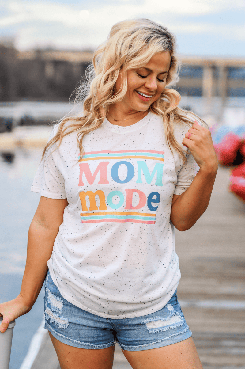 Mom Mode White Fleck Tee Jadelynn Brooke Graphic Tee