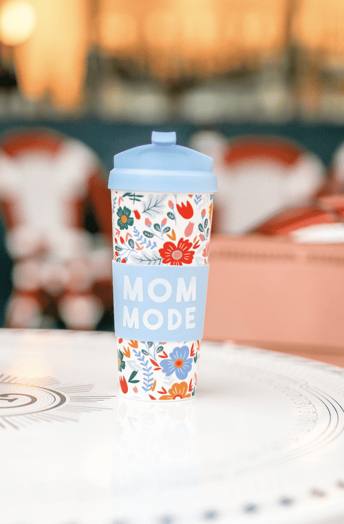Periwinkle Floral Mom Mode Travel Coffee Mug Jadelynn Brooke Travel Mug