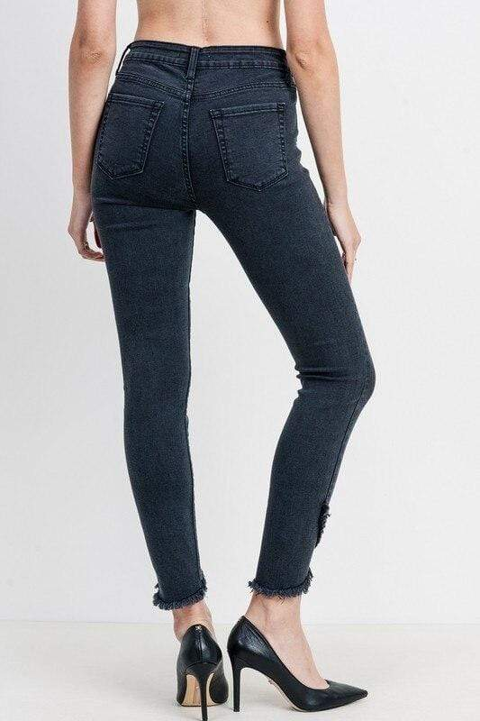 Washed Black Tulip Hem Skinny Jean Just Black Denim