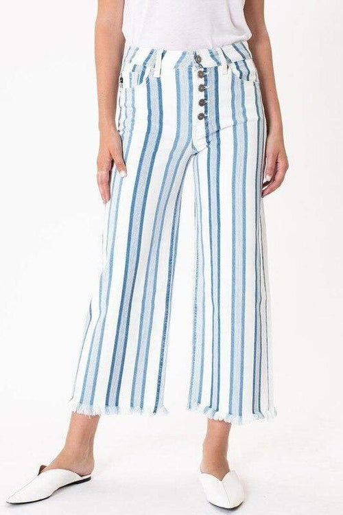 Blue & White Stripe Wide Leg Crop Jeans KanCan 0/23