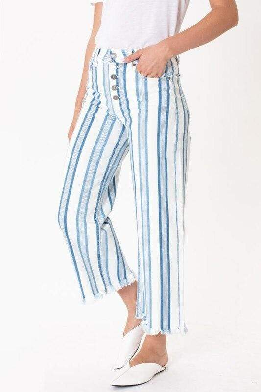 Blue & White Stripe Wide Leg Crop Jeans KanCan