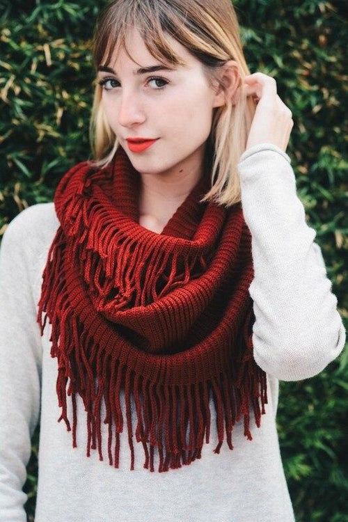 Ribbed Fringe Infinity Scarf Leto Accessories