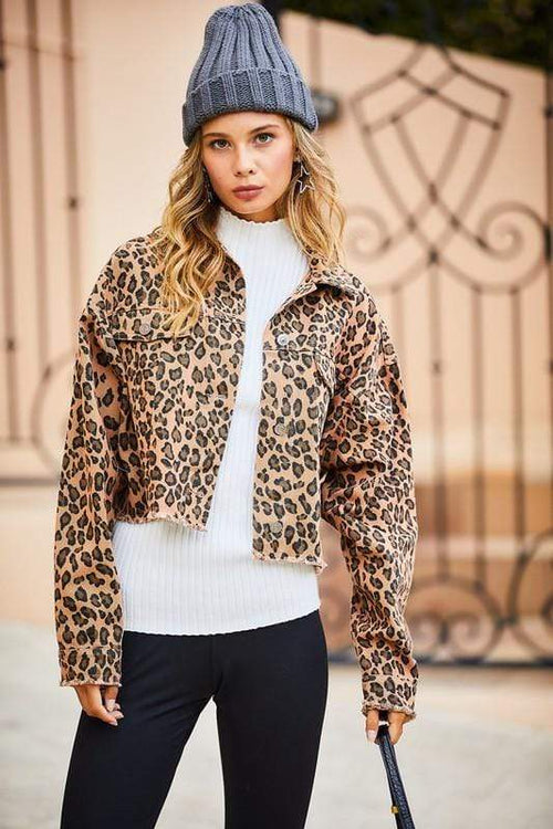 Camel Leopard Crop Denim Jacket Main Strip Jacket