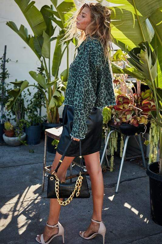 Olive Leopard Crop Denim Jacket Main Strip