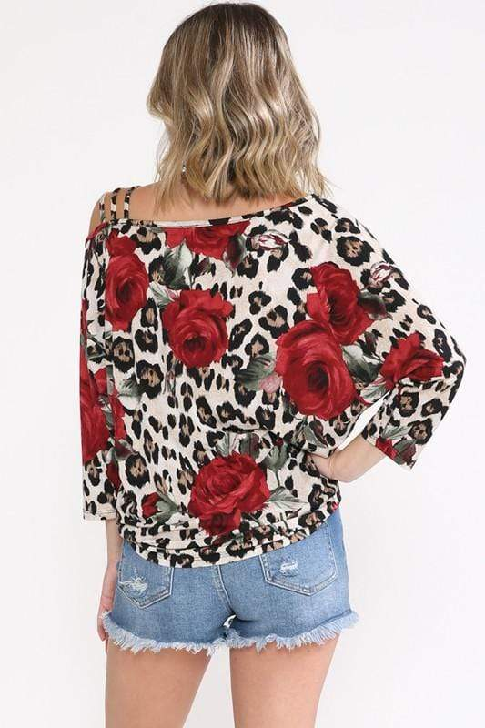 Floral Leopard Cold Shoulder Top Now N Forever