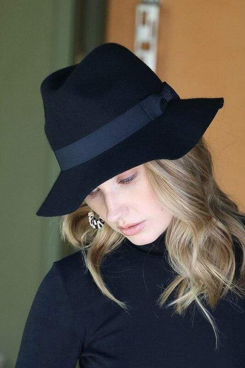 Black Wool Felt Fedora OSB Hats
