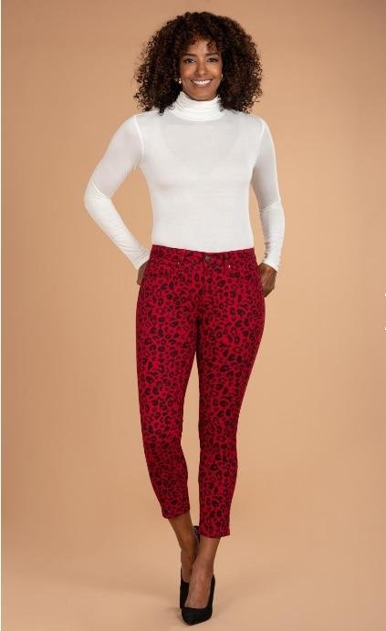 Women Mid-Rise Animal Print Ankle Jean - RED LEOPARD Royalty For Me 4
