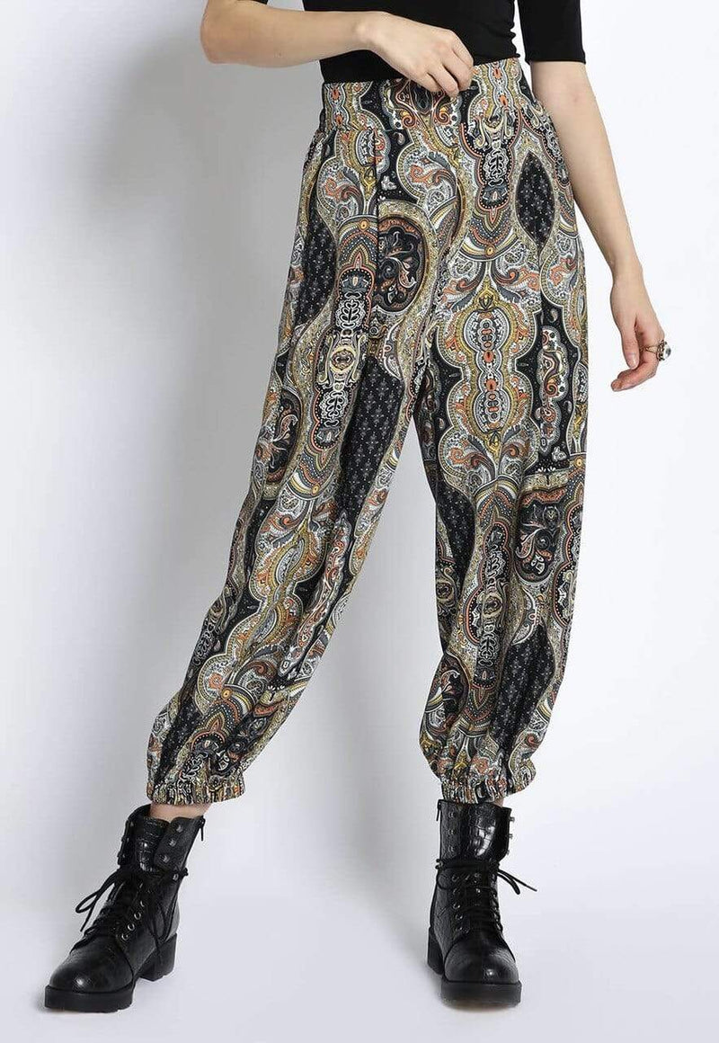 Black Printed Boho Pants San Souci Small