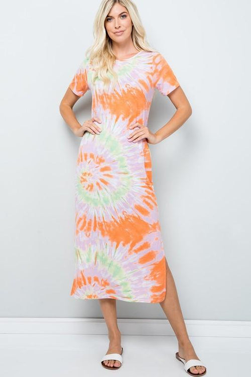Orange Tie Dye Mid Length Dress Sweet Lovely by Jen