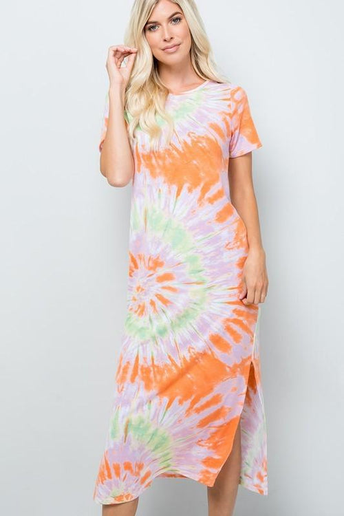 Orange Tie Dye Mid Length Dress Sweet Lovely by Jen Small