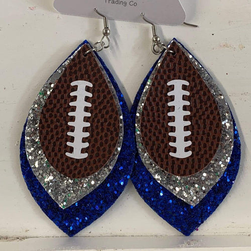 Blue & Silver Football Earrings vendor-unknown
