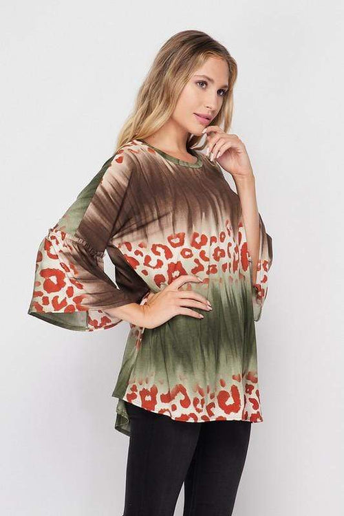 Brown Multi Animal Print Top vendor-unknown
