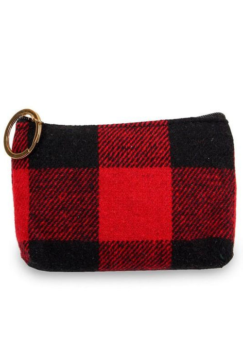Buffalo Plaid Coin Purse vendor-unknown Red