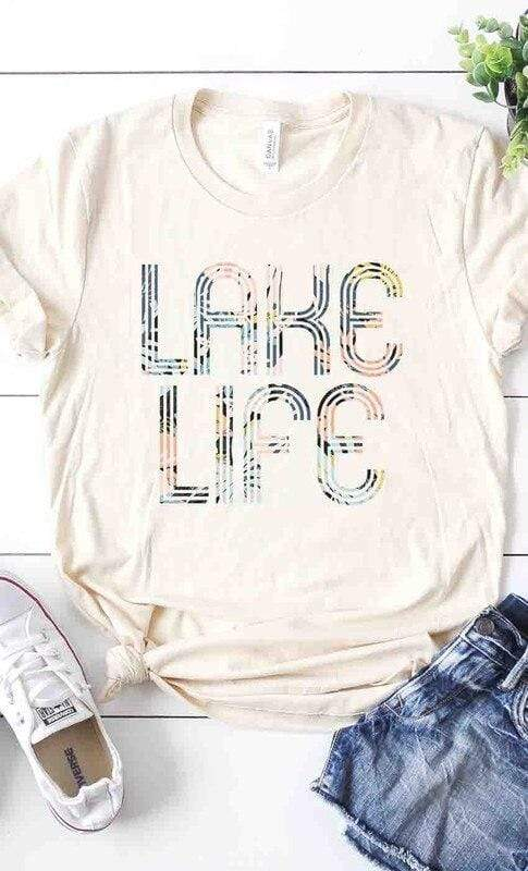 Cream Floral Lake Life Graphic Tee vendor-unknown Small