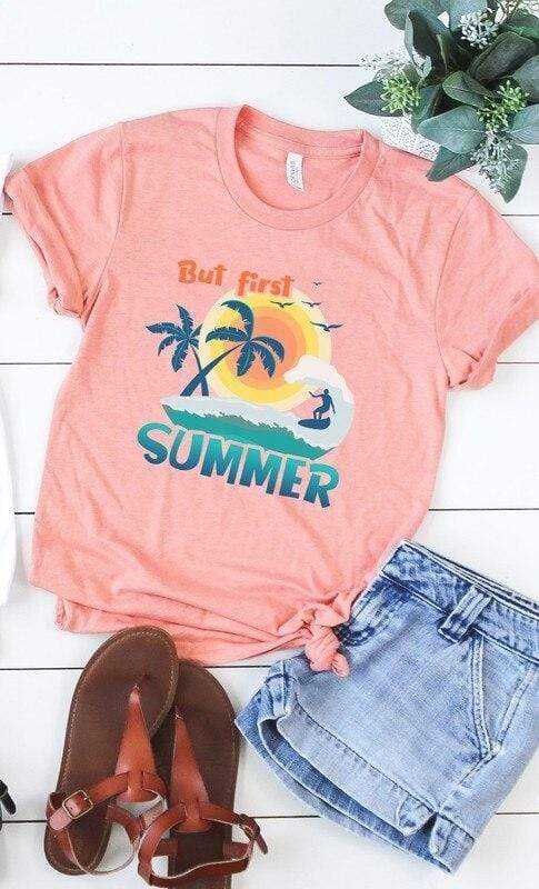 Heather Sunset But First Summer Graphic Tee vendor-unknown Small