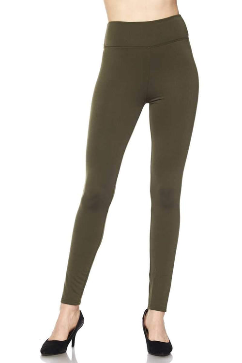 High Waist Fur Lined Leggings vendor-unknown S/M / Olive
