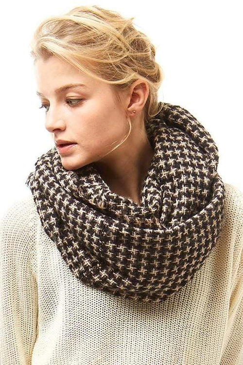 Houndstooth Pattern Infinity Scarf vendor-unknown Black