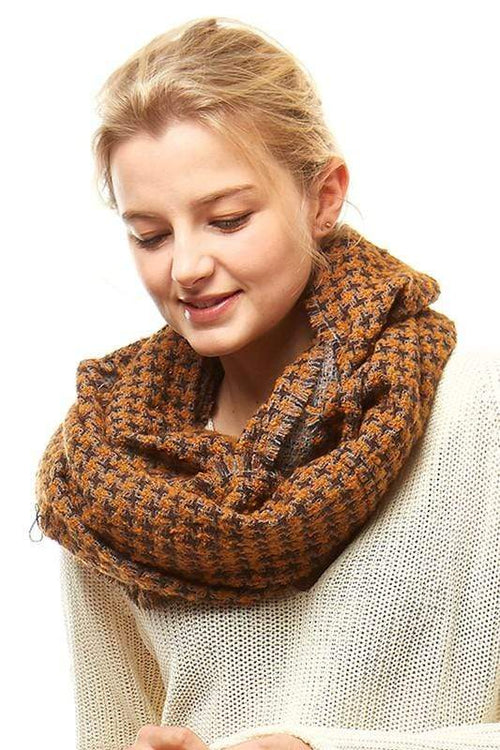 Houndstooth Pattern Infinity Scarf vendor-unknown Mustard